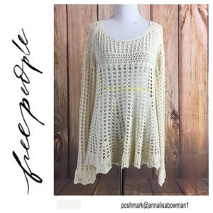 🐞Free People crochet bell sleeve knit pullover M
